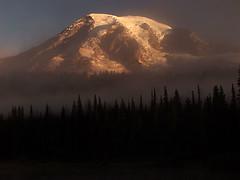 Mount Rainier in Fog, Sunrise