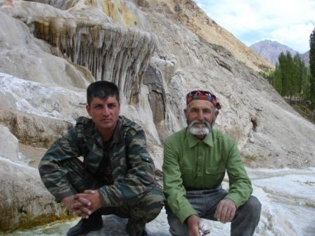 The checkpoint guard and man with a gangrenous thumb at Garam Chasma, Tajikistan