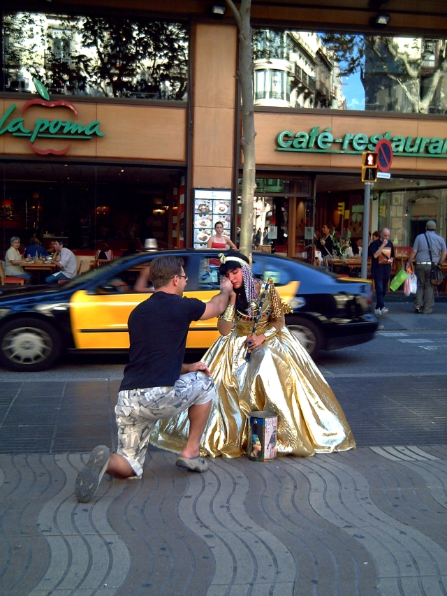 Street  Artists at Work in Las Ramblas: Cleopatra