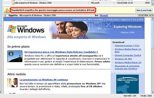 Thunderbird riconosce una email Microsoft riguardo Vista come un tentativo di Frode... È proprio vero!!