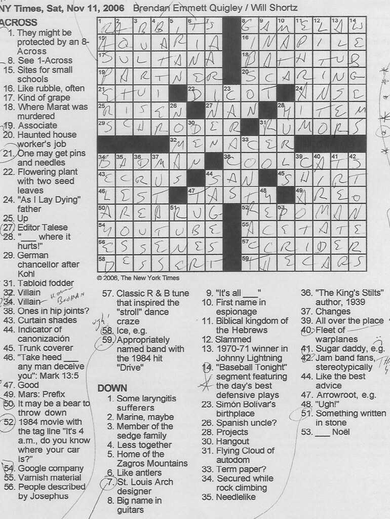 Saturday November 11 2006  sc 1 st  Rex Parker - blogger & Rex Parker Does the NYT Crossword Puzzle: SATURDAY Nov. 11 2006 ... 25forcollege.com