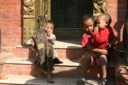 Young boys playing near a Hindu temple, Thamel - Kathmandu.
