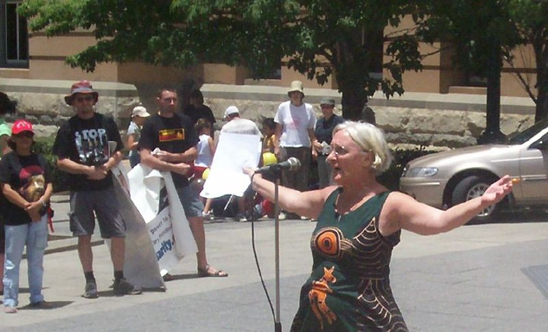 This speaker was sent by Aunty Margery Woodrow of the Sovereign Aboriginal Council of Elders - Justice for Mulrunji Rally at Queens Park and March through Brisbane City, Australia, November 18 2006