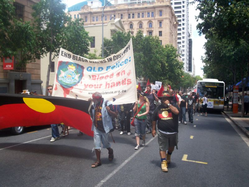 Van of the march heads up George St, just before the Queen Street Mall - Justice for Mulrunji Rally at Queens Park and March through Brisbane City, Australia, November 18 2006