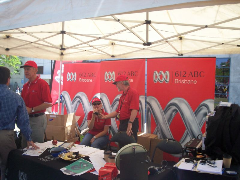 ABC Local Radio 612AM outside broadcast van - The Ashes 2006-7 - First Test - Atmosphere in town, outside the Gabba, and watching the game on a big screen at the 'beach' in Southbank.
