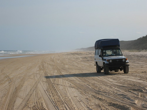 Our Landcruiser on the 75 mile beach