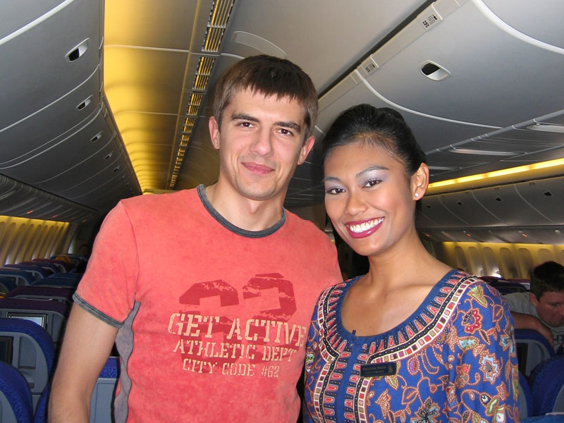 Myself and beautiful stewardess from Singapore Airlines