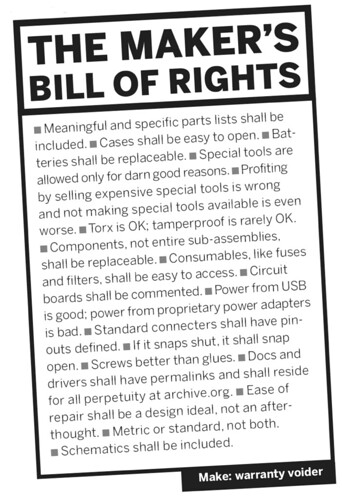 Maker's bill of rights
