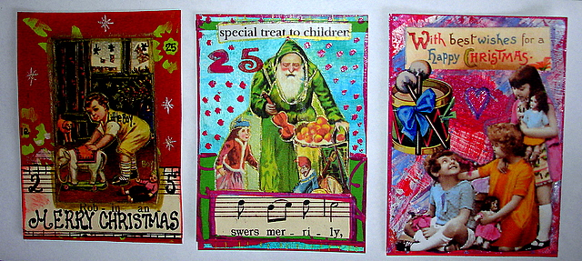 3 ATC's with Christmas theme