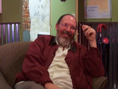 Dad at Highway 61 Coffeehouse