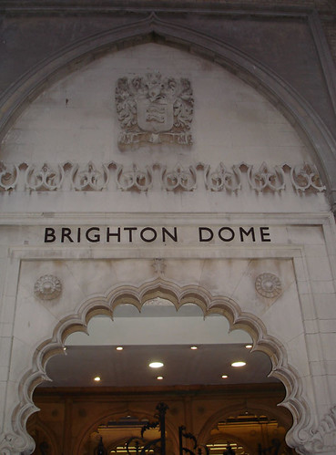 The ornate entrance to the Brighton Dome