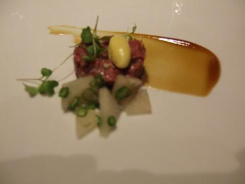 WD-50 (New York) - Hangar Tartare, Pickled Asian pear, Bernaise ice cream