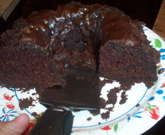 Chocolate cake with chocolate glaze