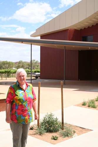 Sonia with new Higher Education building Alice Springs