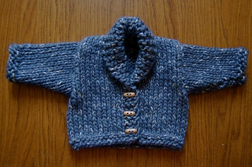 FO: Ribbon Twist Cardigan (Dumpling) from Rowan Babies
