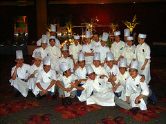 Chefs and cooks having fun