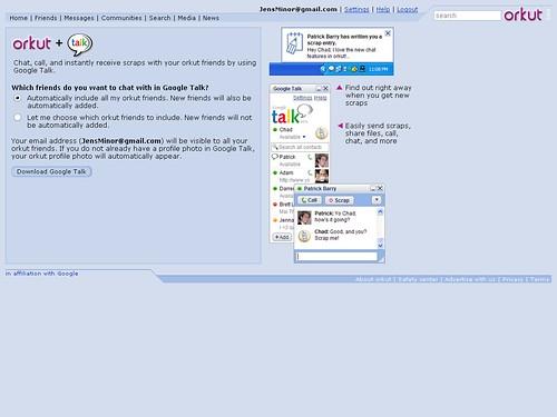 Login-Bildschirm Talk + Orkut