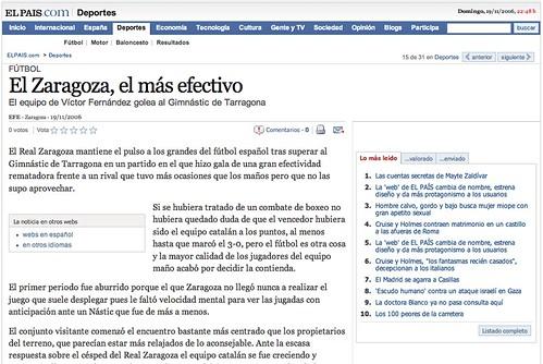 Imagen del desarrollo de una noticia en elpais.com