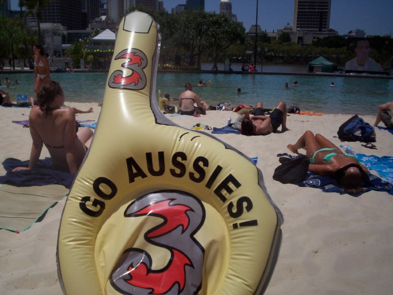 Free Stuff - these inflatable fingers were being given away at Streets Beach, Southbank - The Ashes 2006-7 - First Test - Atmosphere in town, outside the Gabba, and watching the game on a big screen at the 'beach' in Southbank.
