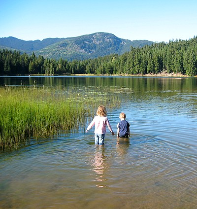 wading in lost lake