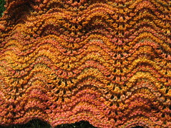 Falling Leaves Shawl - in progress