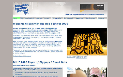 Brighton Hip Hop Festival Website