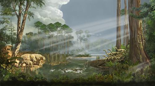 Triassic Placerias, Coelophysis, Phytosaur and Metoposaur