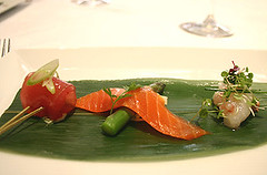 Tuna Marinated in Soy & Mirin, Soft Smoked Ocean Trout with Asparagus, Marinated NZ Scampi with Chicken Parfait and Walnut
