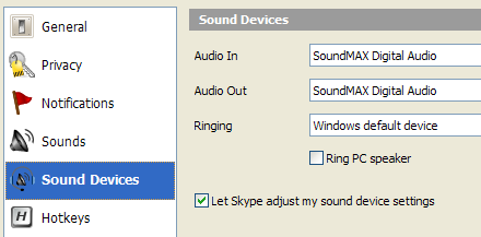 Let Skype adjust my sound device settings