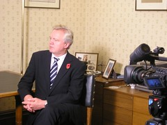 David Davis MP, being interviewed for 18 Doughty Street