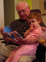 Grampa reads to Marley