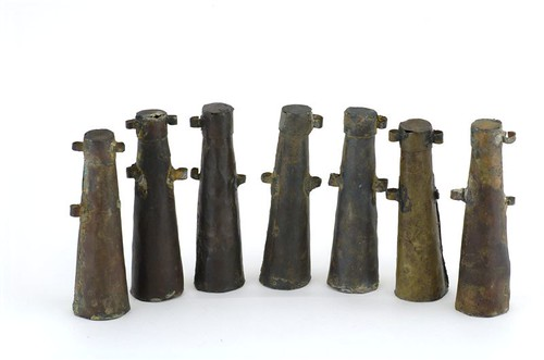 A selection of apostles from the wreck.  They hung from a bandoleer across the chest and each contained enough powder for one charge
