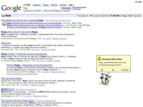 Captura de Google con Sólo otro blog infame en el quinto puesto buscando hugo