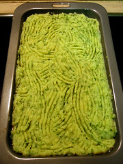 Cottage Pie: Fancy Abstract Scores On Mash atop Meat Mix.