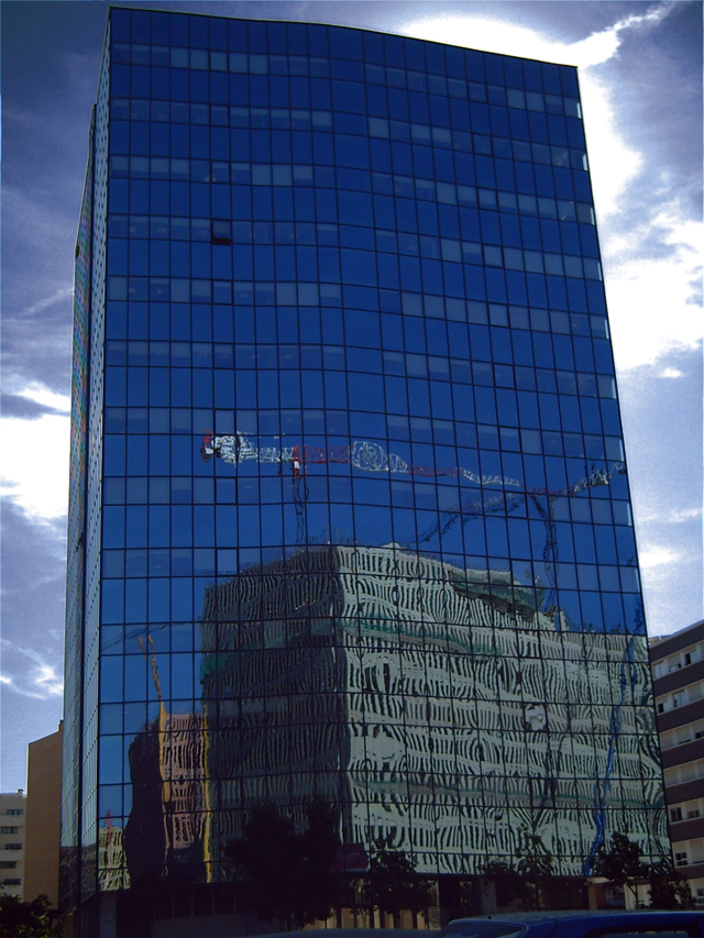 Reflections on New Building near Plaza Cerdá