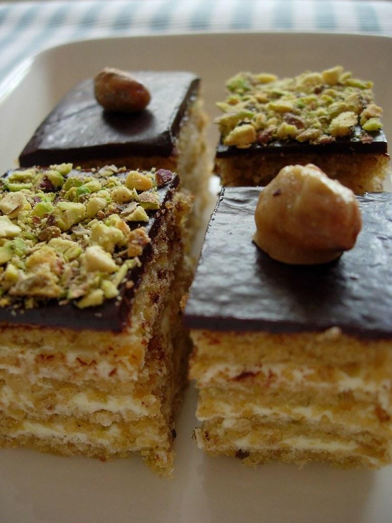 Chocolate Pistachios petit fours, opera cake style