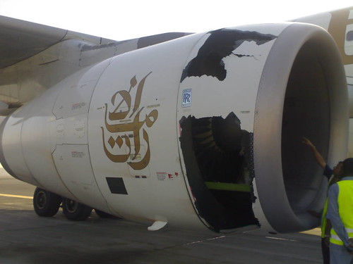 Emirates A330 RR Engine Nose Cowl Damage