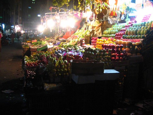 Nighttime Ramadan Fruit Market