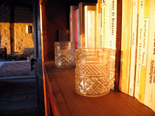 sunrise with bookshelf