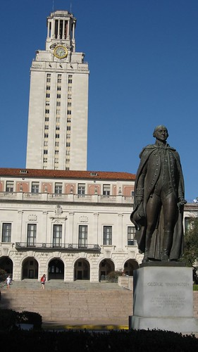 Statue of George Washington in front of the main UT building