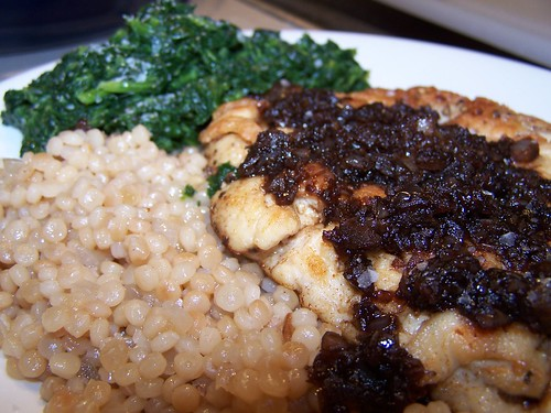 Sauteed Chicken Breasts with Balsamic Vinegar Pan Sauce, Israeli Couscous and Spinach