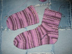 Regia Cotton Surf Crochet Socks WIP