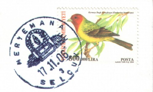 Special postmark from meryemana, turkey