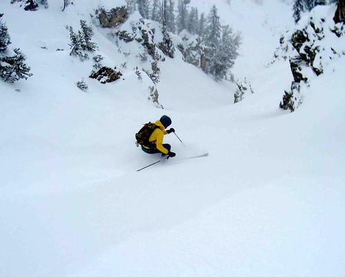 Skiing North Couloir