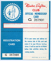 Mister Softee Club Membership Card