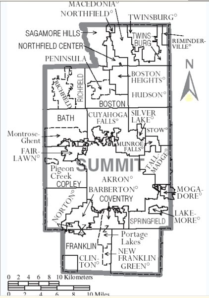 Summitt Co, Ohio Twp Map