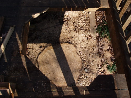 Big hole in deck, big stump.
