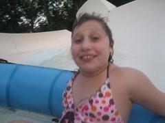 Jessica looks leery on the water slide at Raging Waters, San Dimas, California