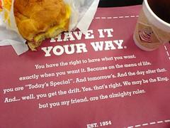 Sin at Burger King