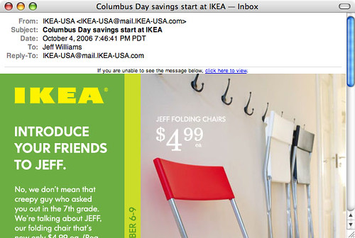 An email message shows an ad for a sale on Ikea's JEFF chair.  The ad reads: Introduce your friends to JEFF. No, we don't mean that creepy guy who asked you out in the 7th grade. We're talking about JEFF, our folding chair...